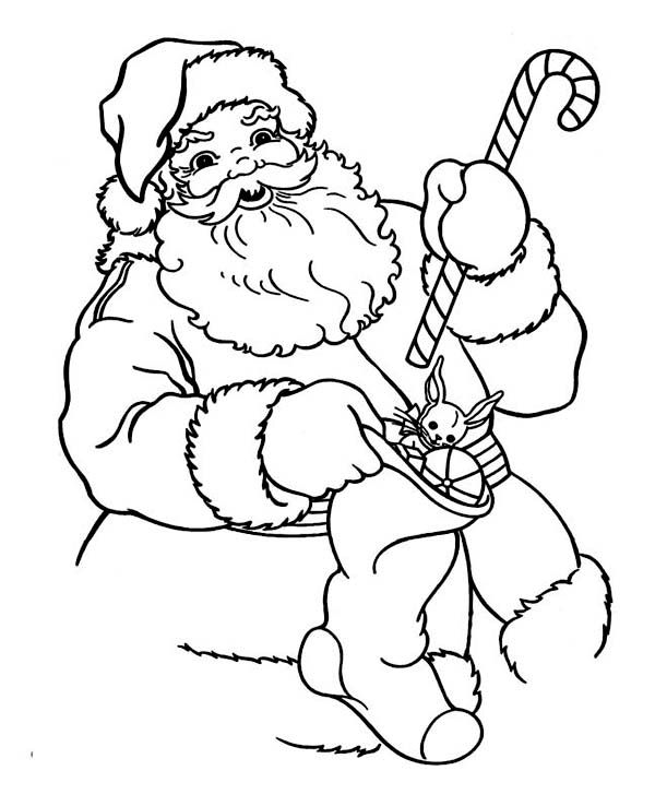 Santa With Candy Cane Coloring Pages