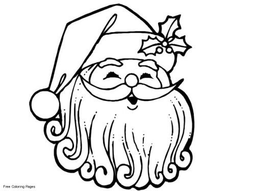 Santas Face Coloring Pages For Preschoolers