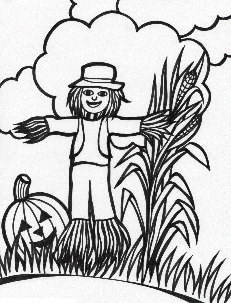 Scarecrow Coloring Pages Kids 001