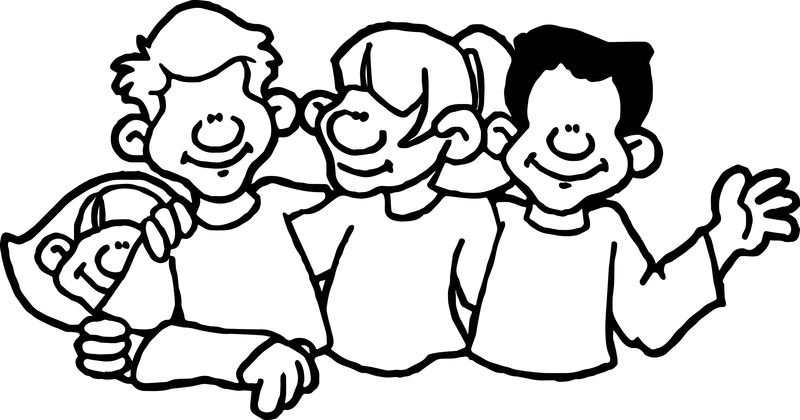 School Kids Group Coloring Page