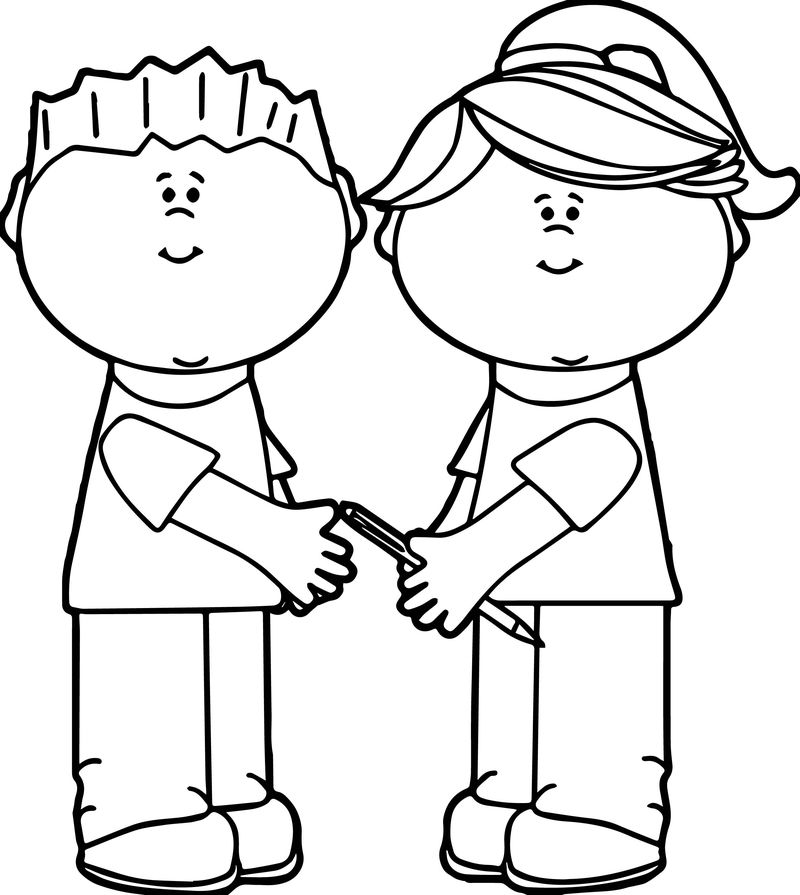 School Kids Sharing Kids Coloring Page