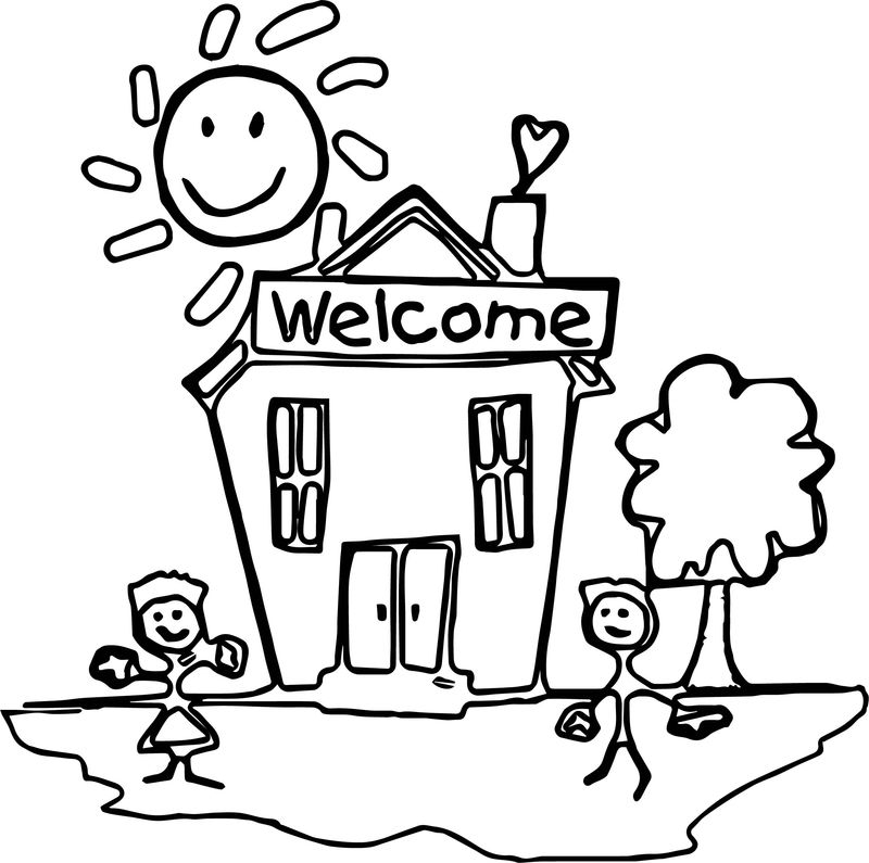 Schools House Coloring Page