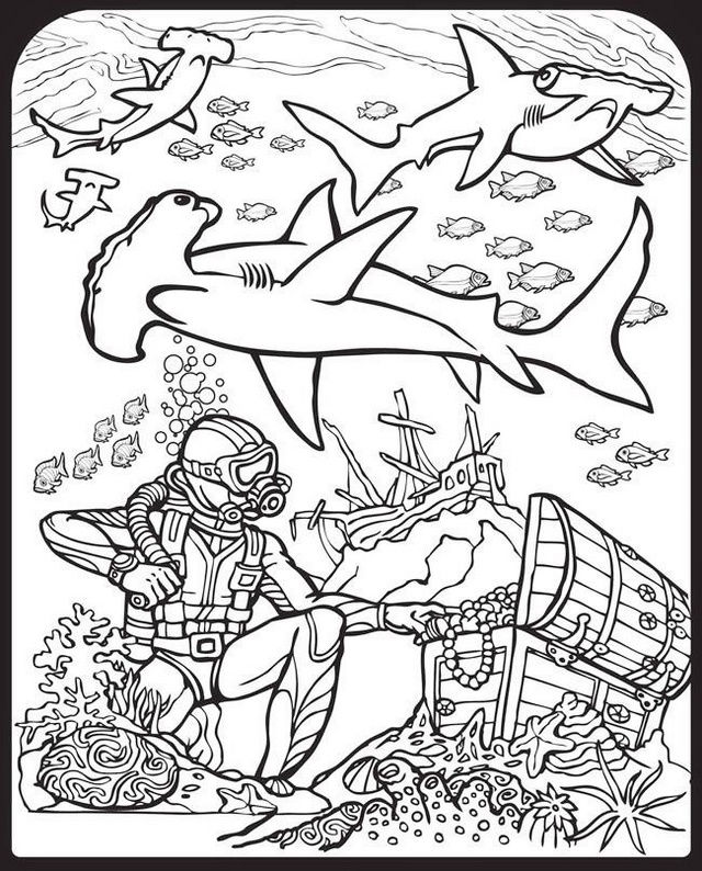 Scuba Diver And Shark Coloring Page