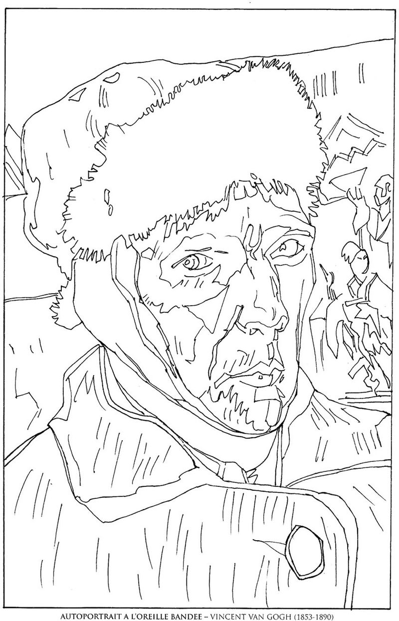 Self Portrait Van Gogh Coloring Pages