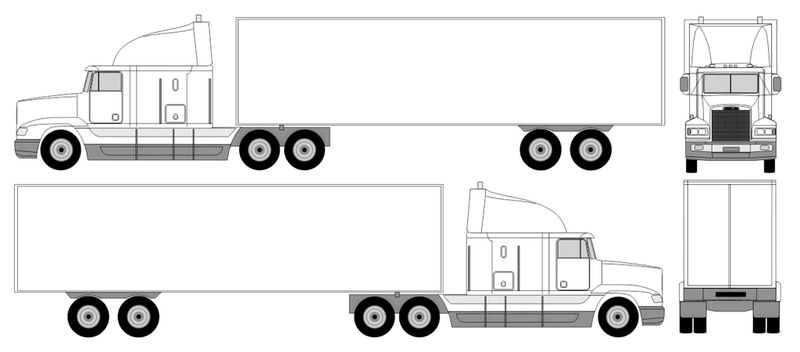 Semi Truck Length Coloring Page