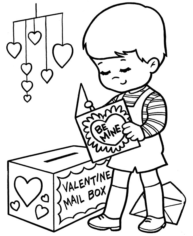 Sending Valentines Valentines Day Coloring Pages