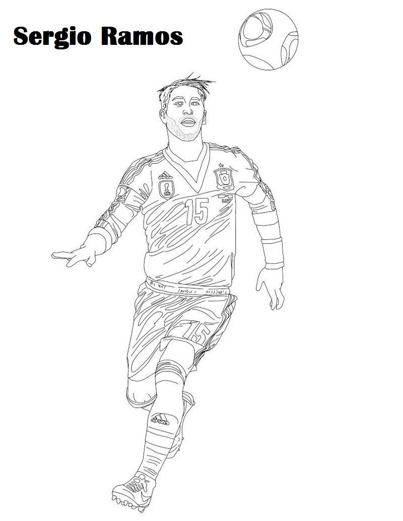 Sergio Ramos Soccer Player Coloring Picture