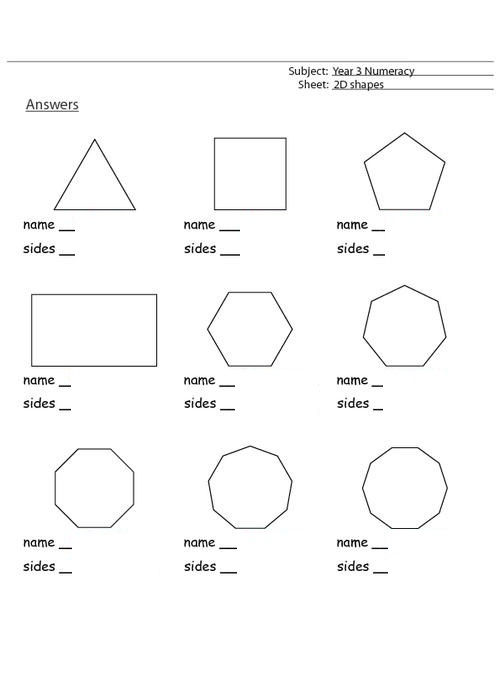 Shapes And Sides Worksheets For 3rd Grade 001