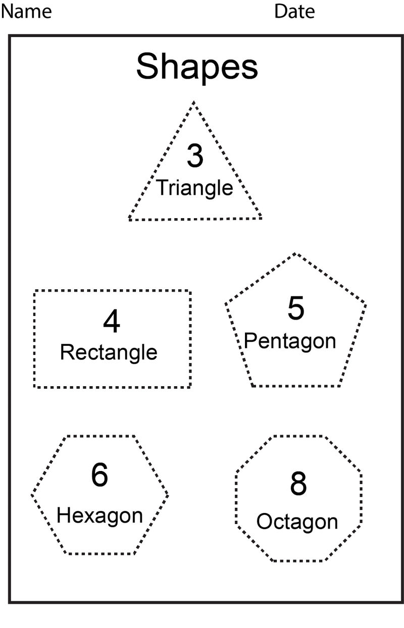 Shapes And Sides Worksheets Tracing