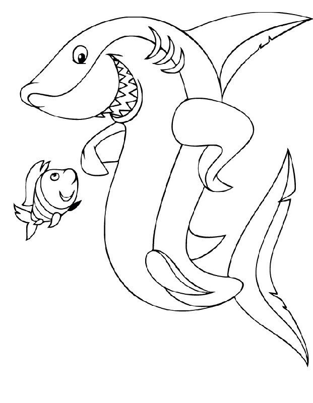 Shark Color Pages Cute 001