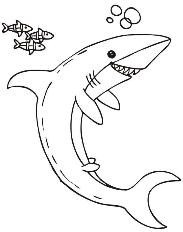 Shark Color Pages Happy 001