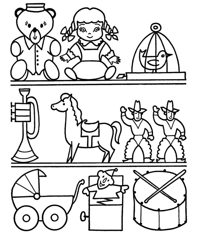 Shelf Of Toys Coloring Page 001