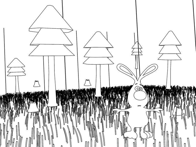Shocked Bunny Comic Cartoon In Forest Coloring Page