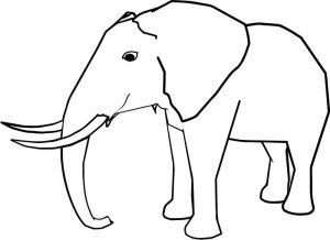 Side realistic elephant coloring page