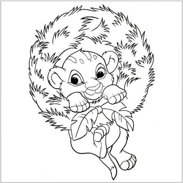 Simba Disney Christmas Coloring Pages