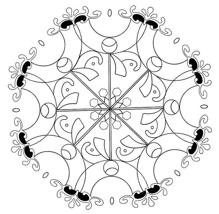 Simple Abstract Flower Mandala Coloring Pages