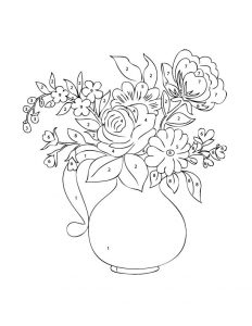 Simple adult color by numbers flower vase