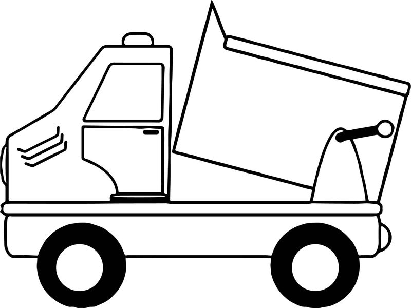 Simple Cartoon Drawing Of A Dump Truck Coloring Page