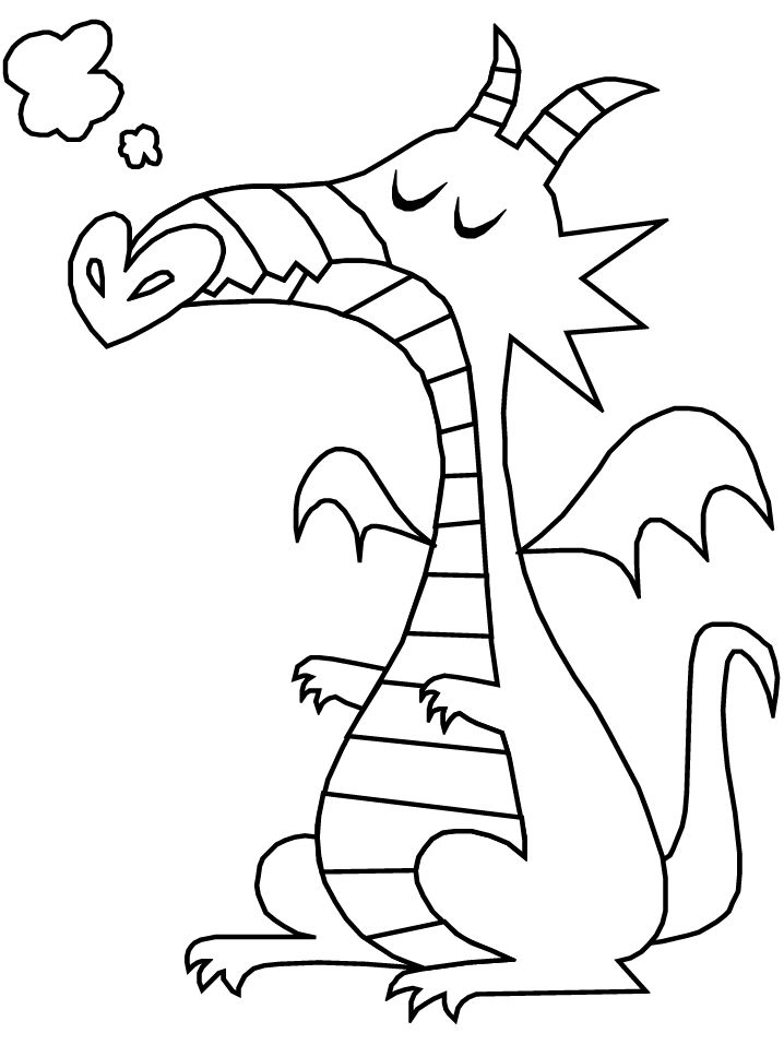 Simple Dragon Fantasy Coloring Pages 001