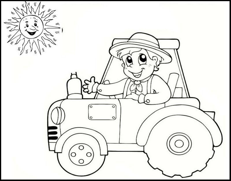 Simple Easy Tractor Coloring Page