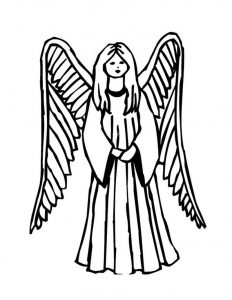 Simple girl angel coloring page