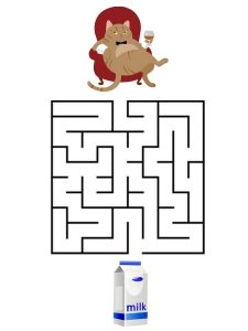 Simple mazes for kids cat