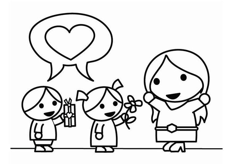 Simple Mothers Day Coloring Pages