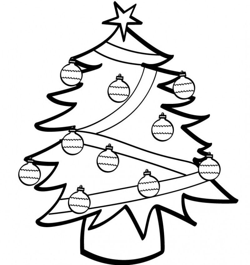 Simple Ornaments On Christmas Tree Printable Coloring Page