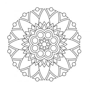 Simple pattern flower mandala coloring page