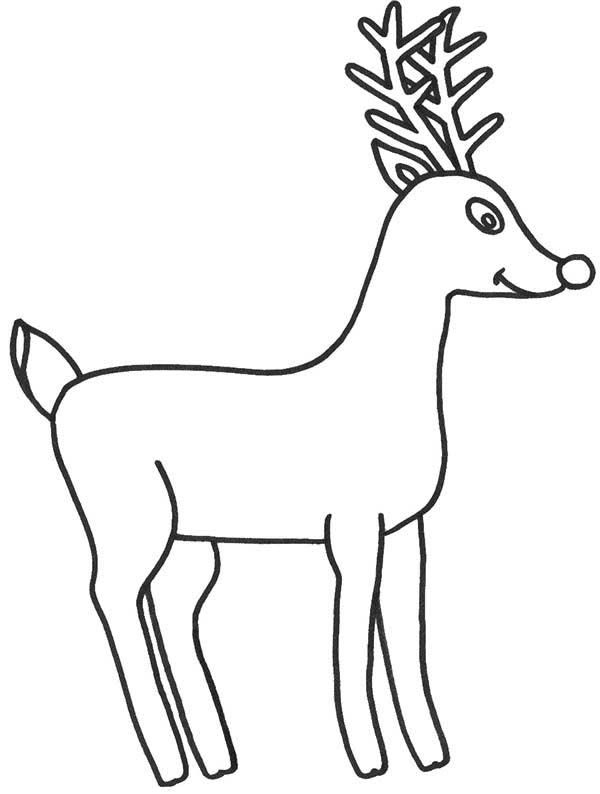 Simple Reindeer Christmas Coloring Pages For Preschoolers
