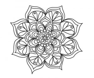 Simple repeating flower pattern mandala to color