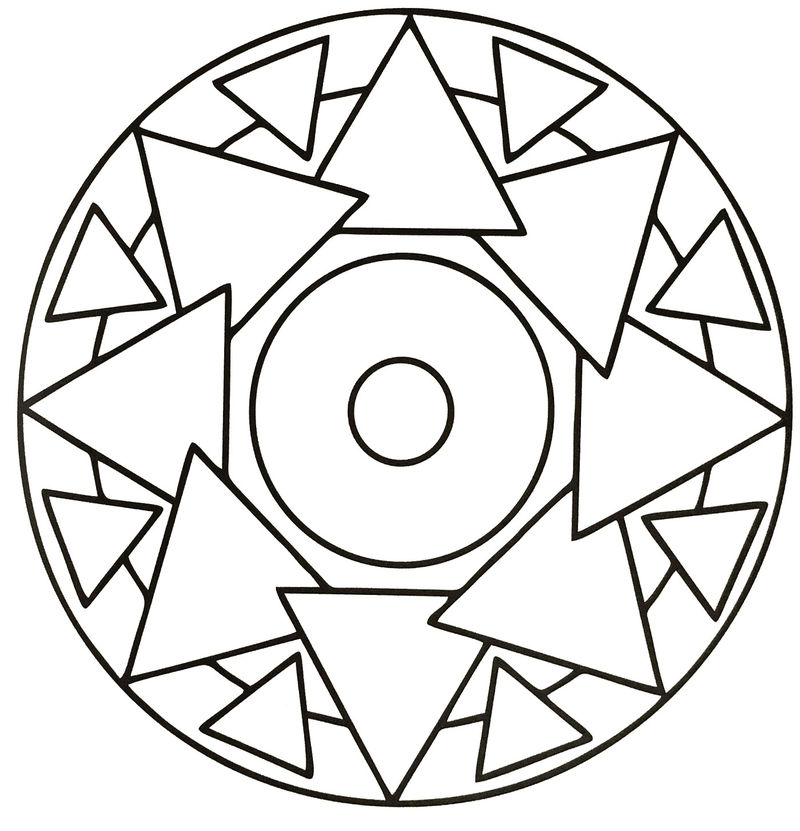 Simple Triangle Mandala For Kids