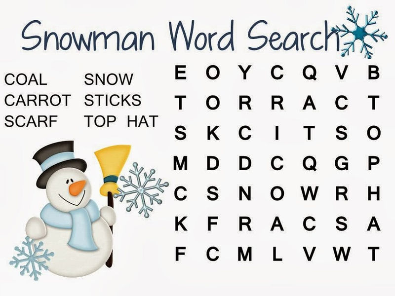Simple Word Searches Snowman