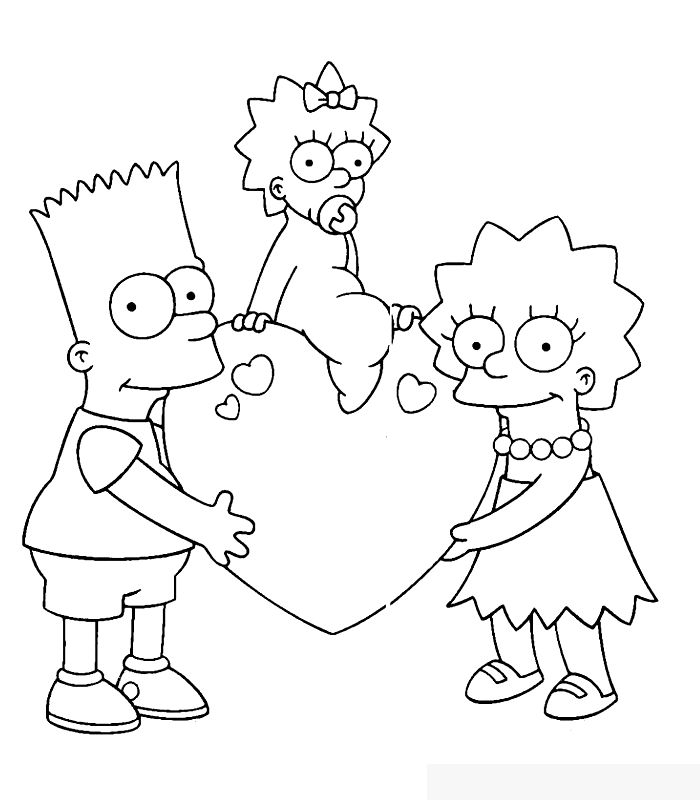 Simpsons Heart Valentines Day Coloring Pages
