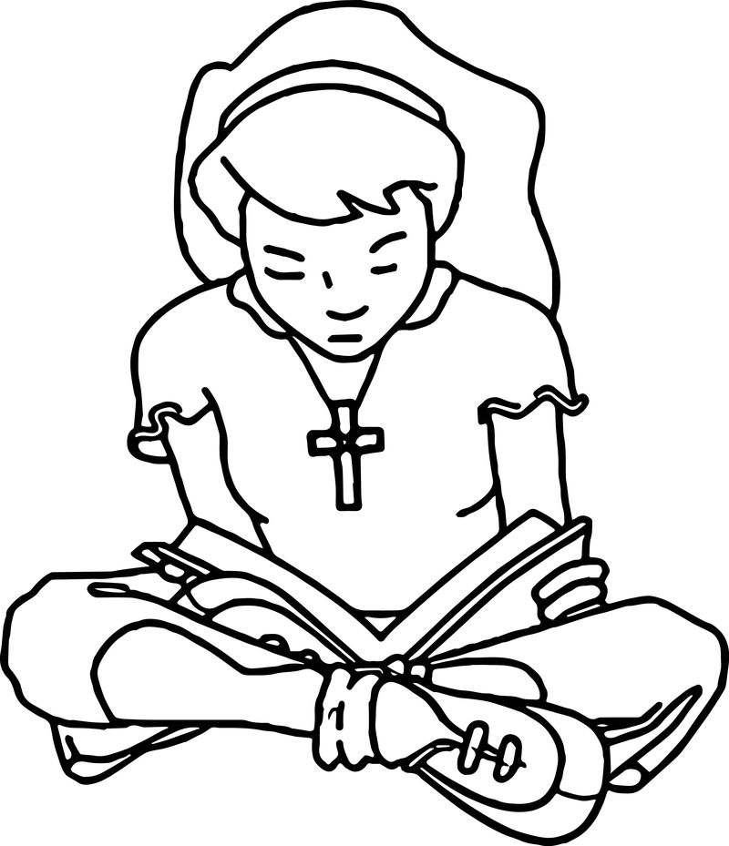 Sit And Read Girl Activity Coloring Page