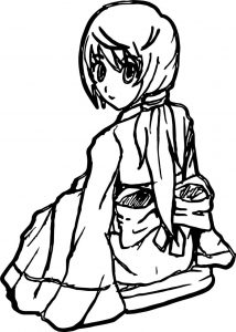 Sitdown anime girl coloring page