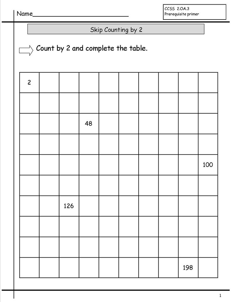 Skip Count By 2 Worksheet For Kids