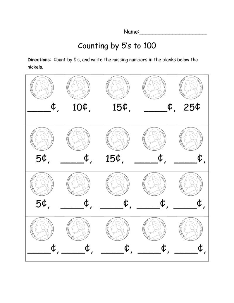 Skip Count By 5 Worksheet Coin
