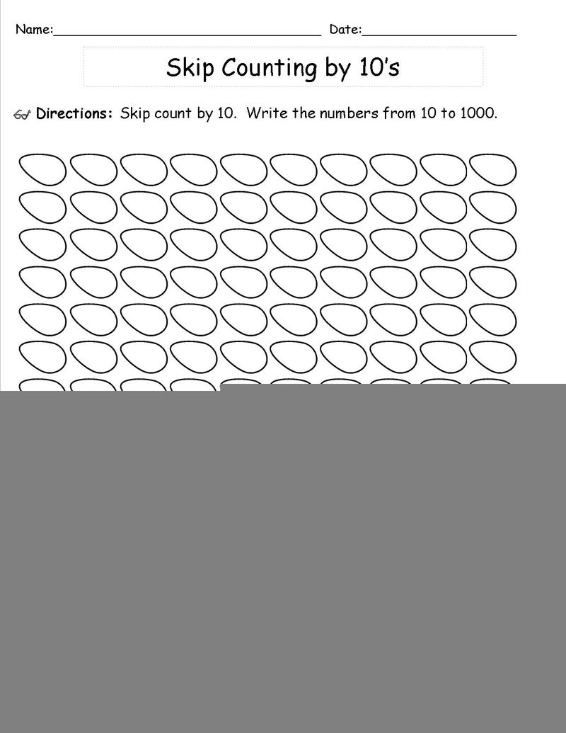 Skip Count Worksheets By 10