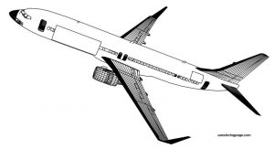 Sky 737 800 plane coloring page