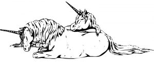 Sleeping unicorns fantasy coloring pages