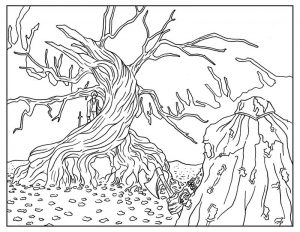 Sleepy hollow adult coloring book page