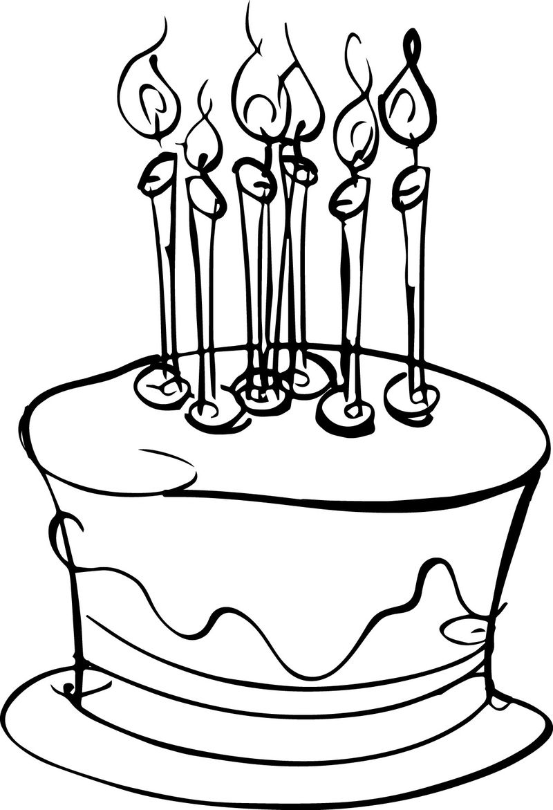 Small Birthday Cake Coloring Page