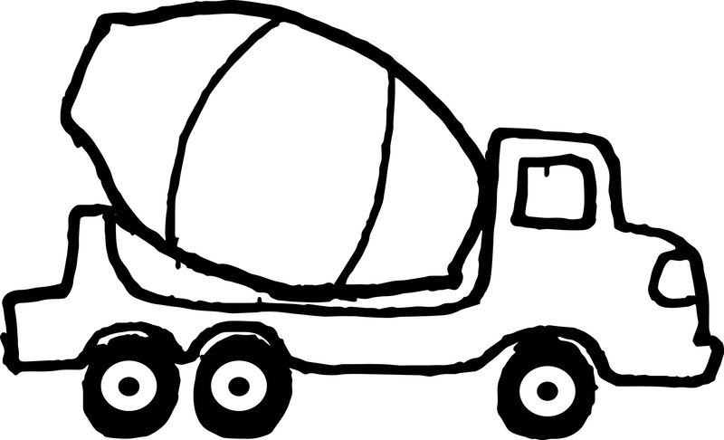 Small Cement Truck Black Tire Coloring Page