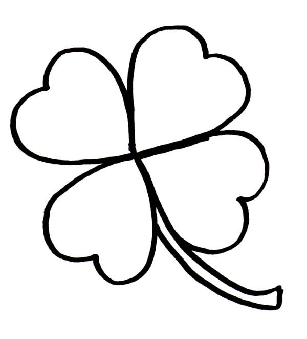 Small Four Leaf Clover Coloring Page