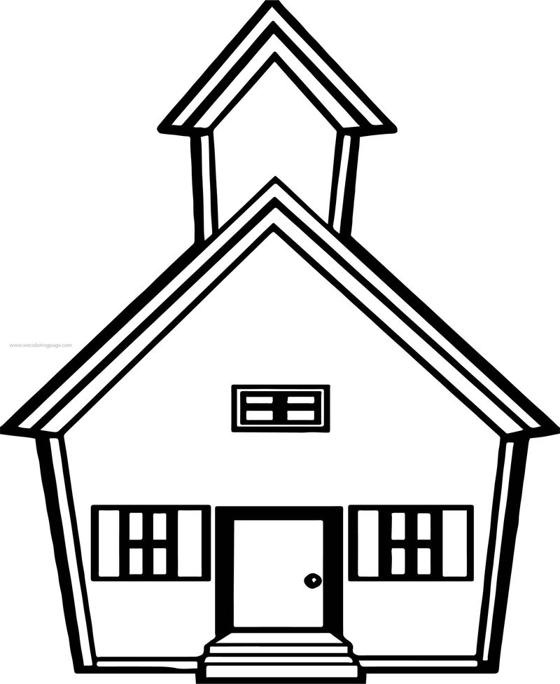 Small School Building Coloring Page