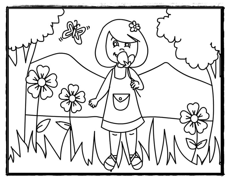 Smelling Flowers Kindergarten Coloring Page
