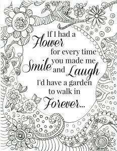 Smile and laugh quote coloring pages for adults