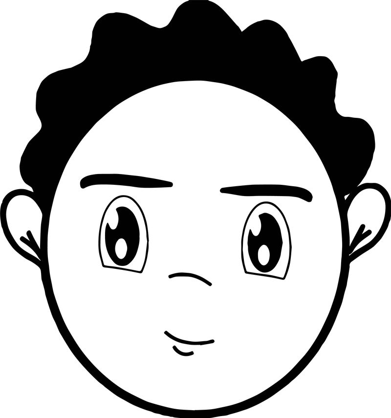 Smile Black Hair Boy Face Coloring Page