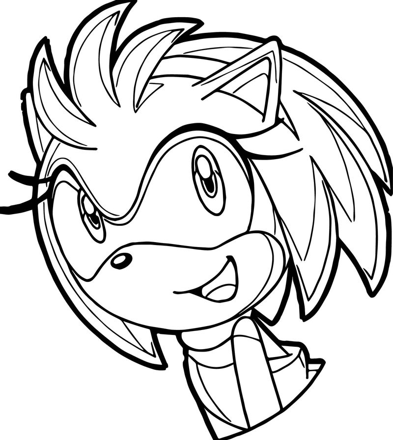 Smile cute face amy rose coloring page
